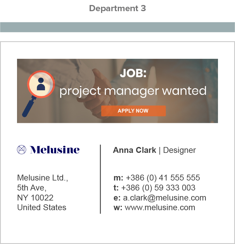 AdSigner enables us to manage all signatures and ad banners from one place, for the whole company, or a single employee.