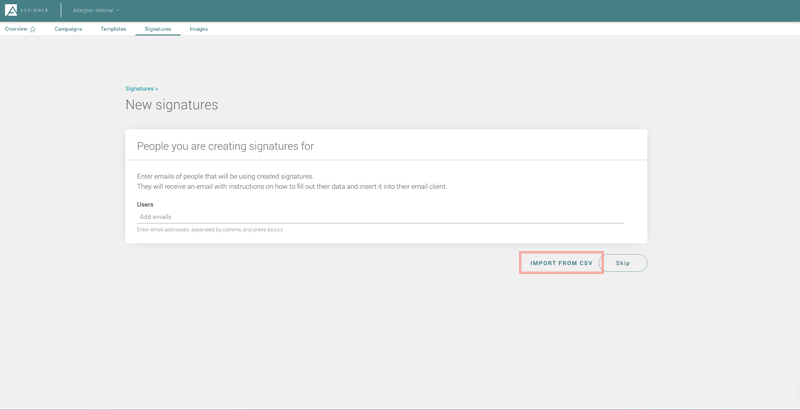 Proceed to Create signature and select import from CSV. Photo: AdSigner