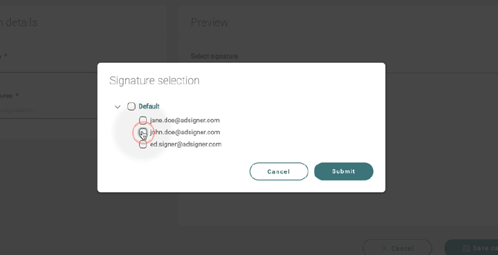 Click on groups and signatures and use checkbox to select signatures or groups. Photo: AdSigner)