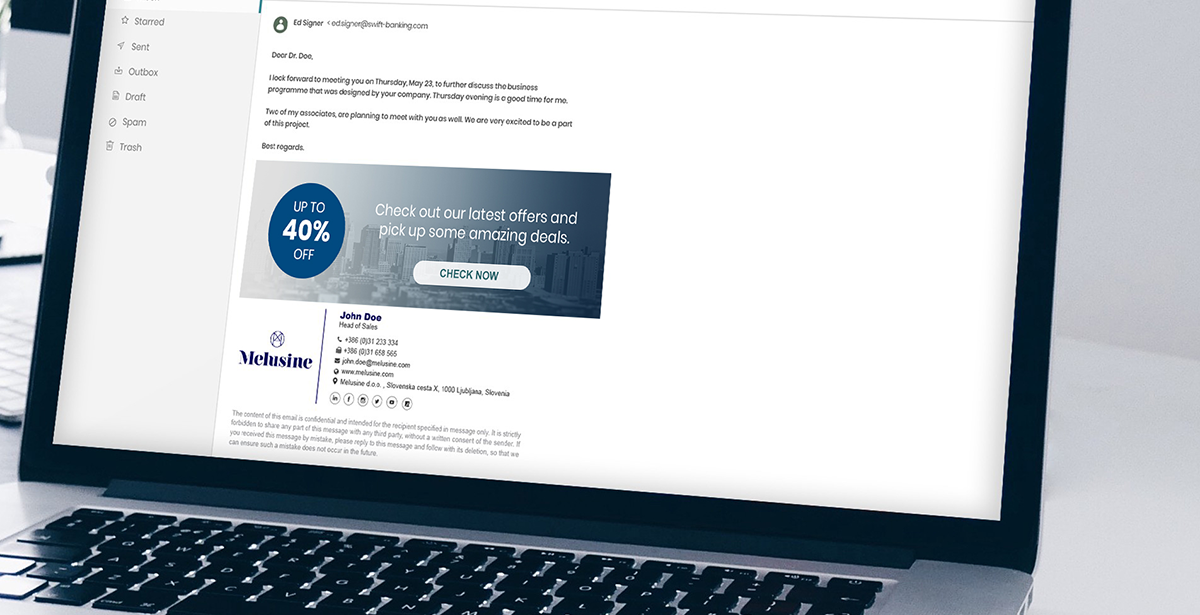 An advertising banner in the e-mail signature of an insurance agent can impact the client's purchase process and thus importantly upgrade their business. Photo: AdSigner