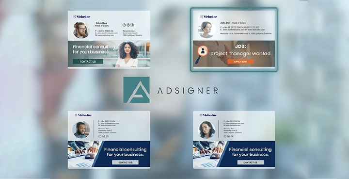 AdSigner allows you to display banners and multiple logo images inside professionally designed email signatures, and add links to every image you insert into the signature template. Photo: AdSigner