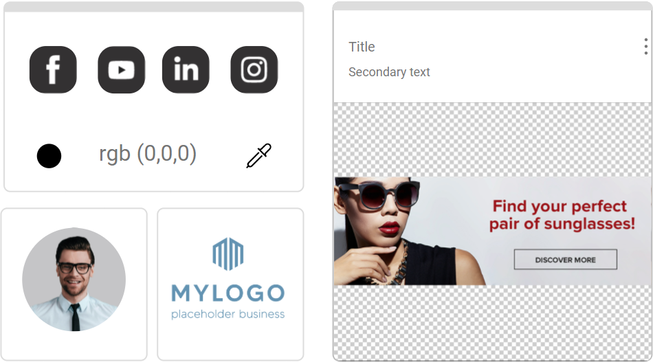 Logos, banners and social media buttons
