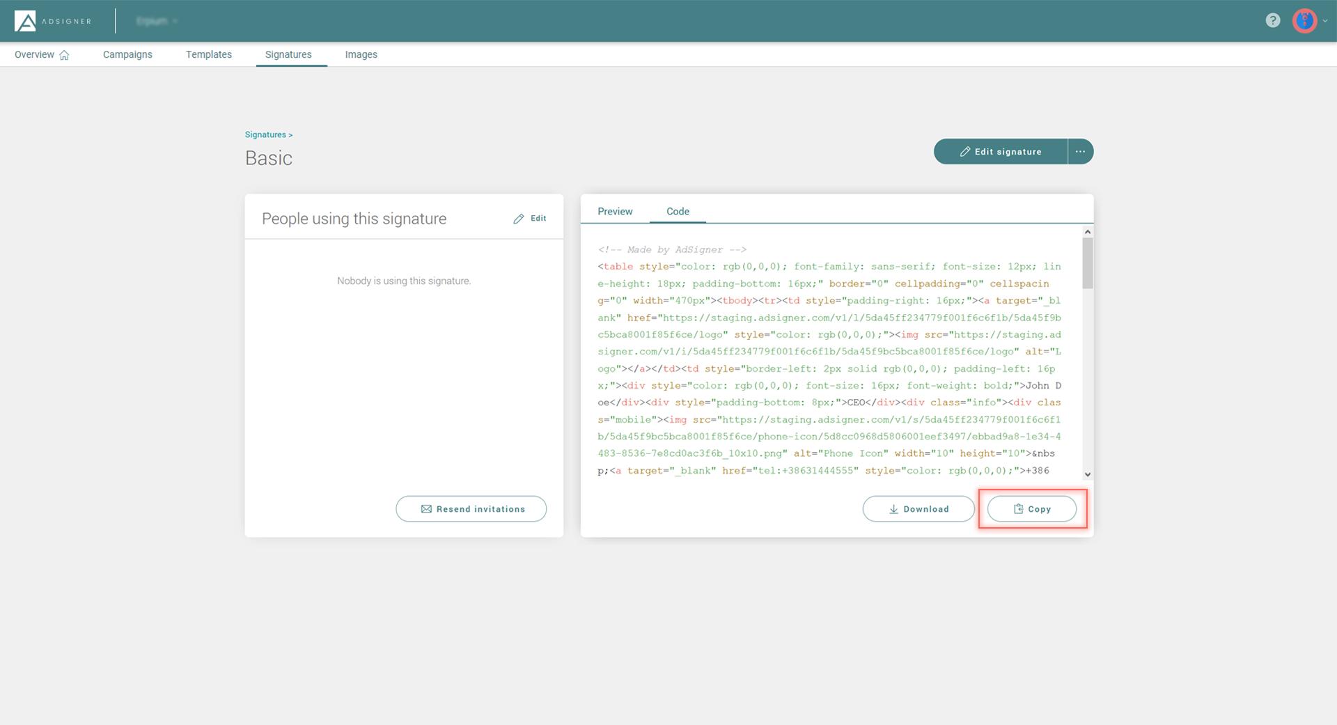 Copy code in AdSigner